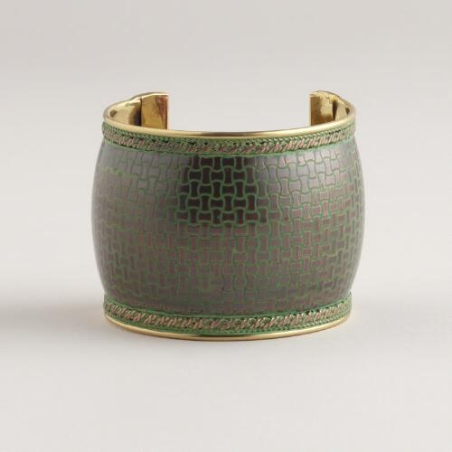 Antique Copper and Green Cuff Bracelet