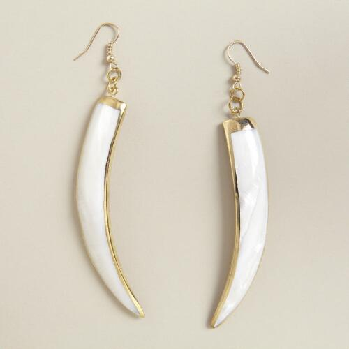 Long Shell Tusk Earrings