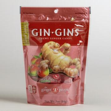 Gin Gins Spicy Apple Chewy Ginger Candy, Set of 6