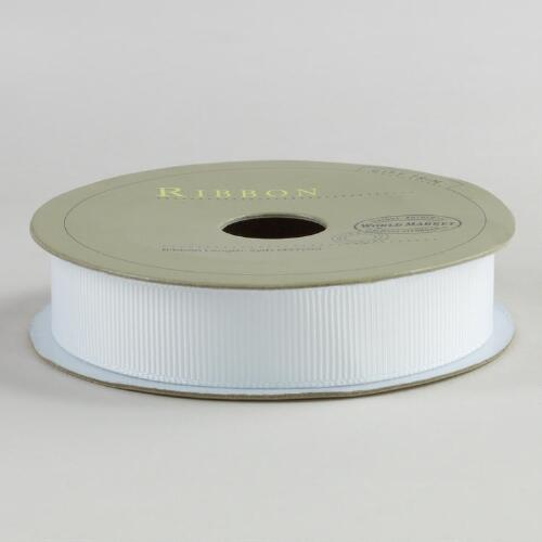 5/8 Inch White Grosgrain Ribbon