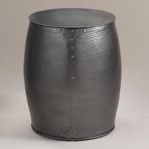 Pewter Metal Accent Stool