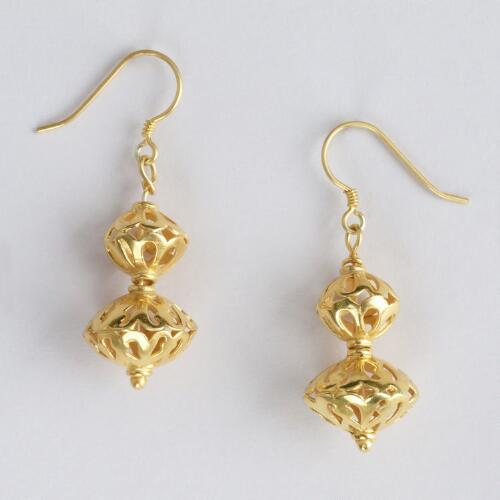Gold Etched Double Ball Drop Earrings
