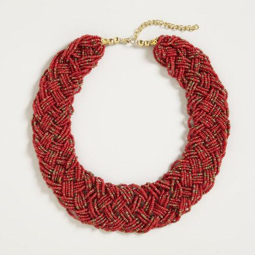 Red and Bronze Braided Seed Bead Necklace