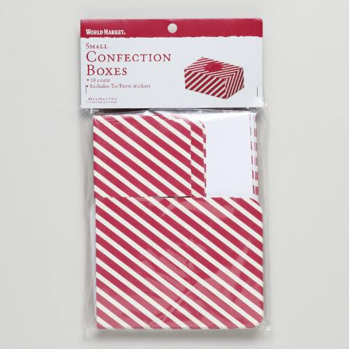 Small Striped Confectionery Boxes, Set of 10