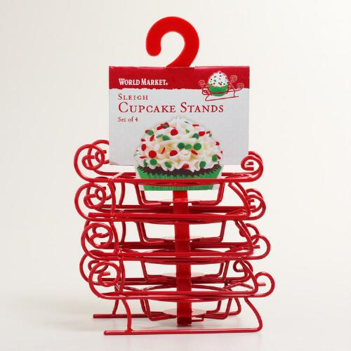 Sleigh Cupcake Stands, Set of 4