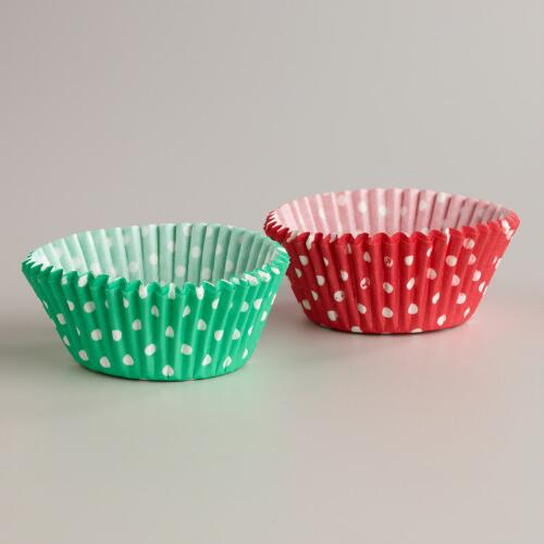 Mint and Red Dots Baking Cups