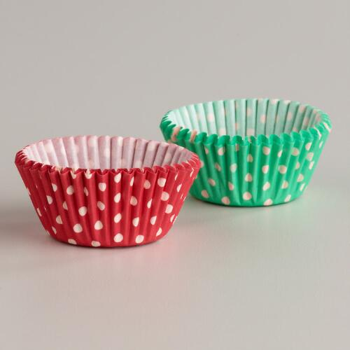 Mint and Red Dots Mini Baking Cups