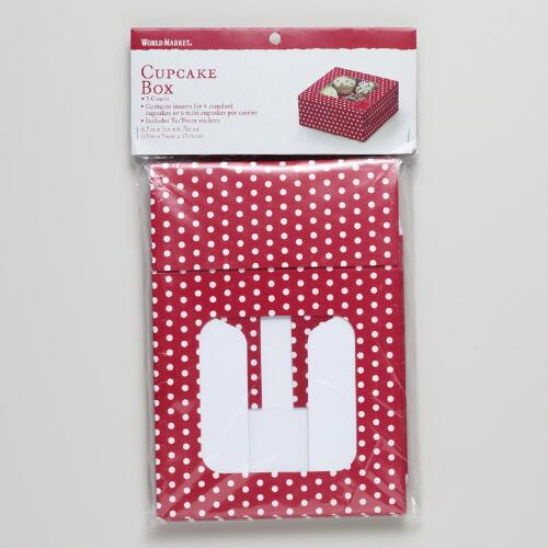 Red Dots Cupcake Boxes, Set of 3