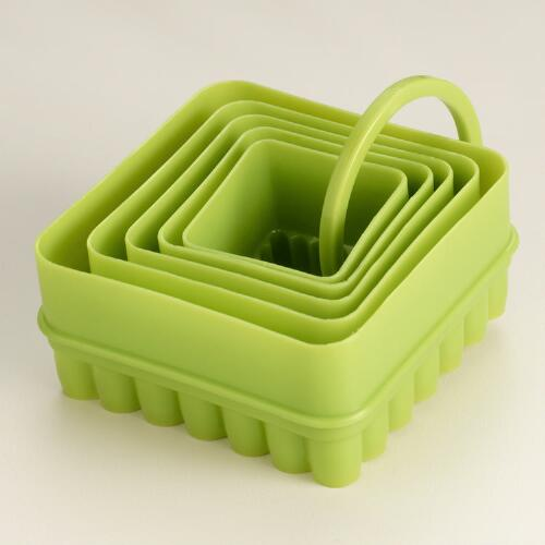 Green Square Reversible Cookie Cutters, Set of 5