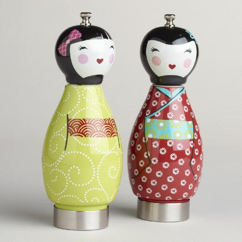 Kokeshi Ceramic Pepper Mills, Set of 2