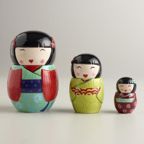 Kokeshi Ceramic Measuring Cups