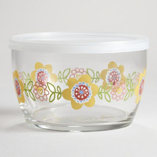 Glass Floral Decal Bowl
