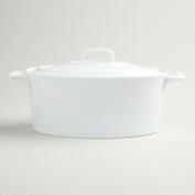 White Oval Covered Baker