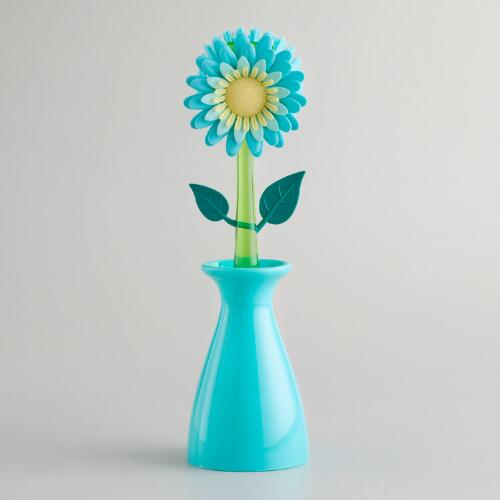 Aqua Flowerpot Kitchen Brush