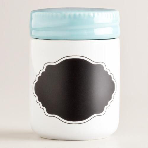 Aqua Ceramic Spice Jar with Chalk Label