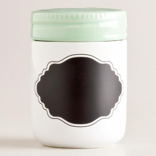 Mint Ceramic Spice Jar with Chalk Label