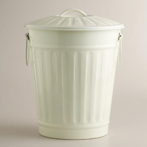 Ivory Retro Galvanized Trash Can