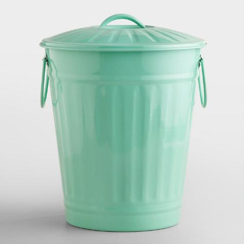Mint Retro Galvanized Trash Can