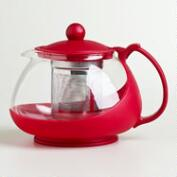 Red Glass Infuser Teapot