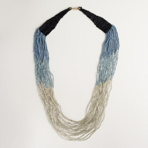 Silver Gray and Black Ombre Seed Bead Necklace