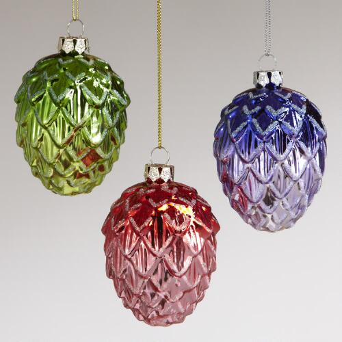 Glass Chubby Pinecone Ornaments, Set of 3