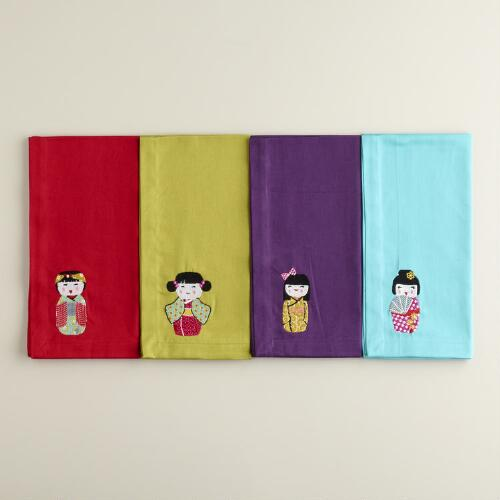 Kokeshi Doll Napkins, Set of 4