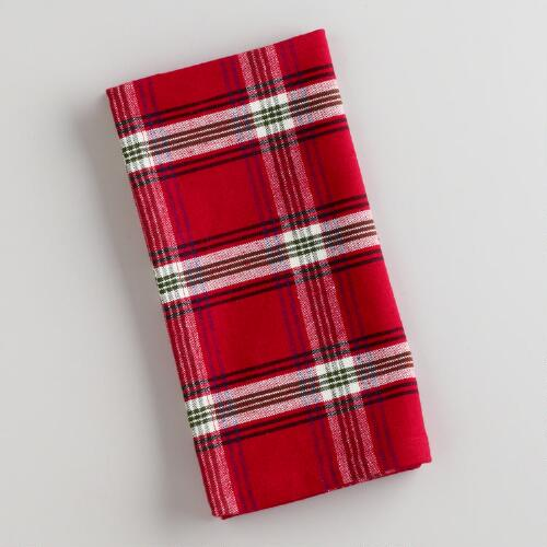 Red Plaid Napkins, Set of 4