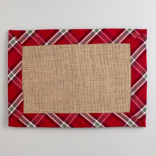 Red Plaid Burlap Placemats, Set of 4