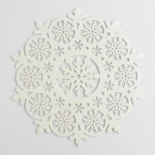Ivory Felt Snowflake Placemats, Set of 4