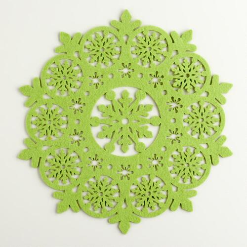 Green Felt Snowflake Placemat