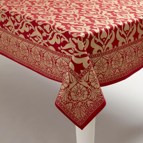 Red and Gold Khadi Tablecloth