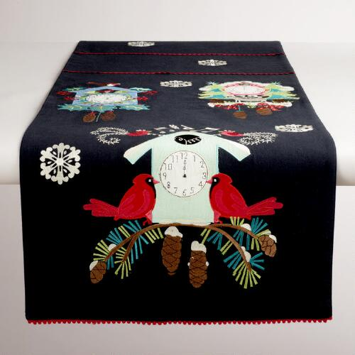 Cuckoo Clock and Cardinal Embroidered Table Runner