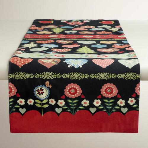 Alpine Heart and Bird Embroidered Table Runner