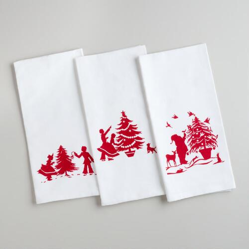 Holiday Flour Sack Kitchen Towels, Set of 3