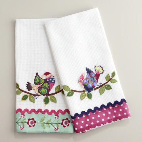 Waffle Weave Appliqué Bird Kitchen Towels, Set of 2