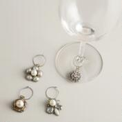 Vintage Brooch Wine Charms, Set of 4