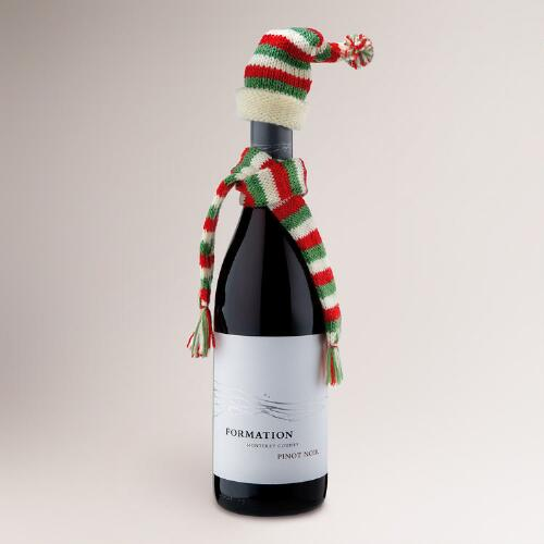 Christmas Wine Bottle Hat and Scarf, Set of 3
