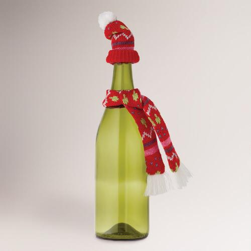 Wine Bottle Hat and Scarf, Set of 2