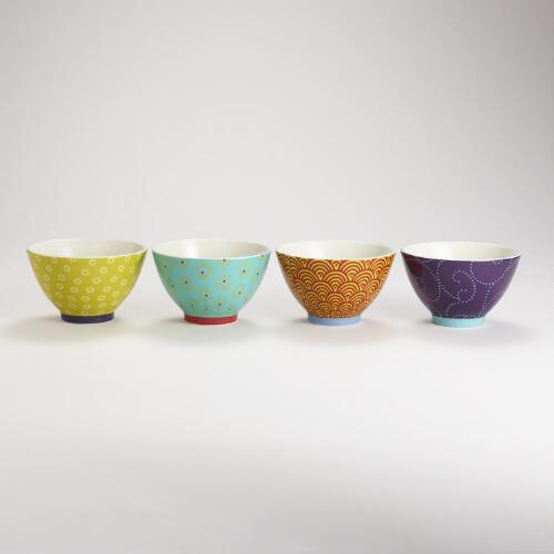 Kokeshi Bowls, Set of 4