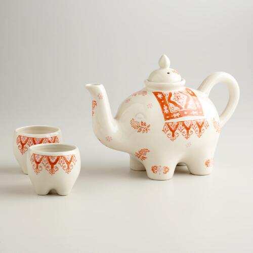 Pink and Orange Elephant 3-Piece Tea Set