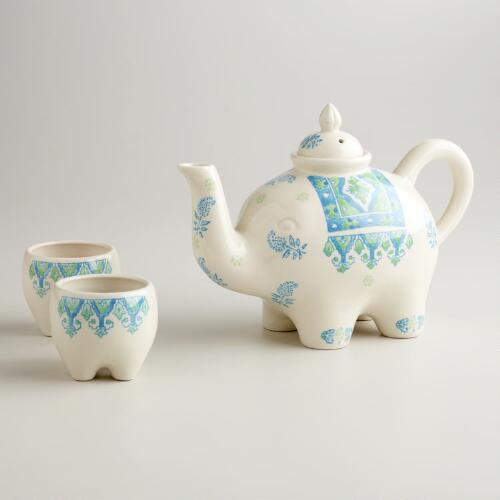 Blue and Green Elephant 3-Piece Tea Set