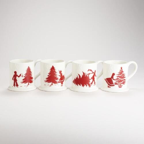 Yuletide Mugs, Set of 4