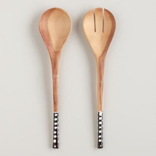 Dotted Wood and Bone Salad Servers