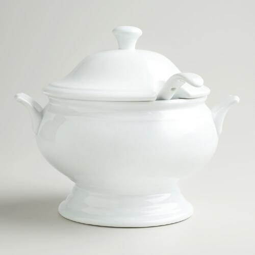 Porcelain Soup Tureen with Ladle