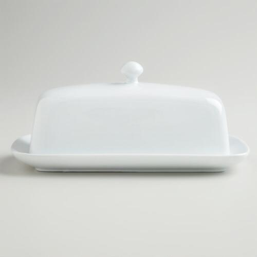 White Porcelain Covered Butter Dish