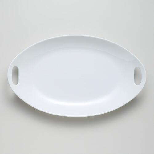 "17.25"" Porcelain Oval Platter with Handles"