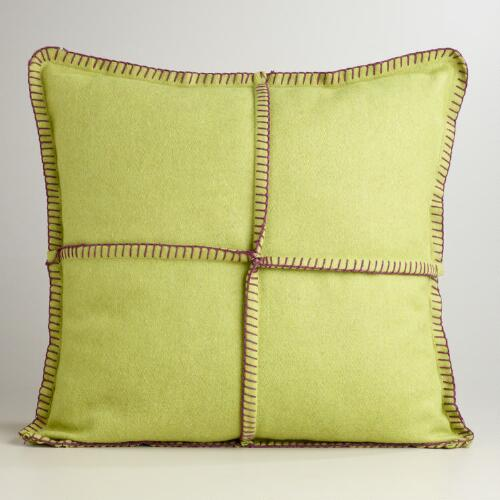 Green Boiled Wool Throw Pillow
