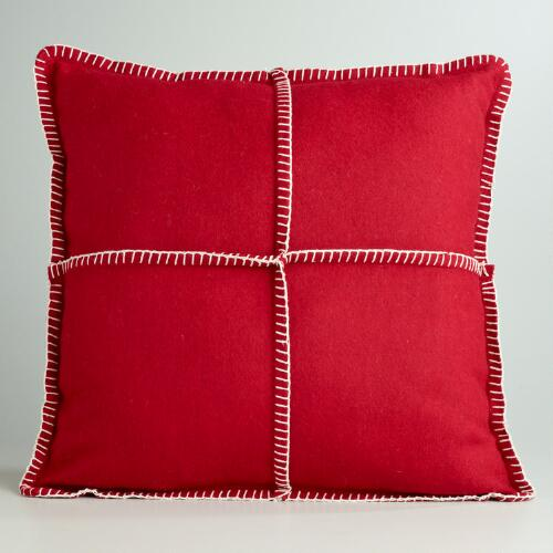 Red Boiled Wool Throw Pillow