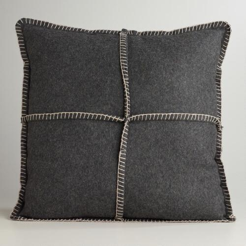 Dark Gray Boiled Wool Throw Pillow