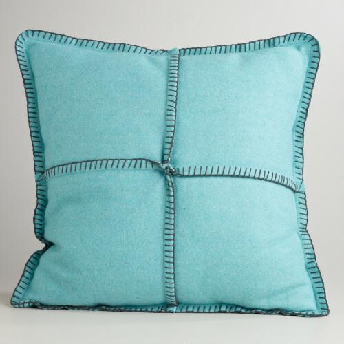 Aqua Boiled Wool Throw Pillow